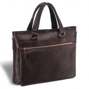 Легкая деловая сумка для документов BRIALDI Bosco (Боско) relief brown