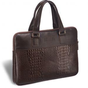 Женская деловая сумка SLIM-формата BRIALDI Belvi (Бельви) croco brown