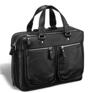 Вместительная деловая сумка с двумя отделениями BRIALDI Arce (Арчи) relief black
