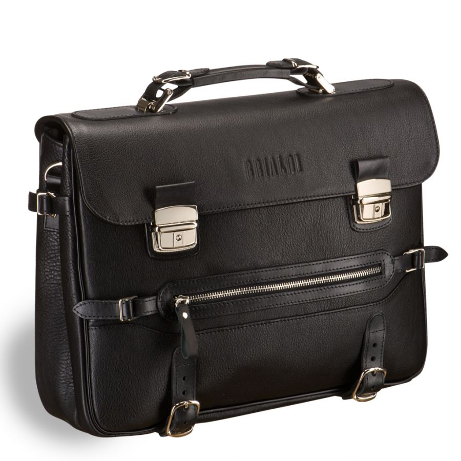 Роскошный мужской портфель для документов Brialdi Lodi (Лоди) black